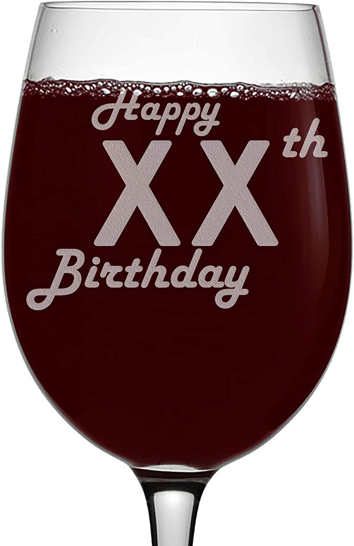 Personalized Stemmed Wine Glass - Happy Birthday with Custom Age