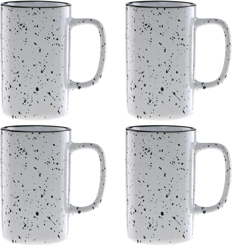 Culver 18-Ounce Tall Campfire Ceramic Mug Set of 4 (White)