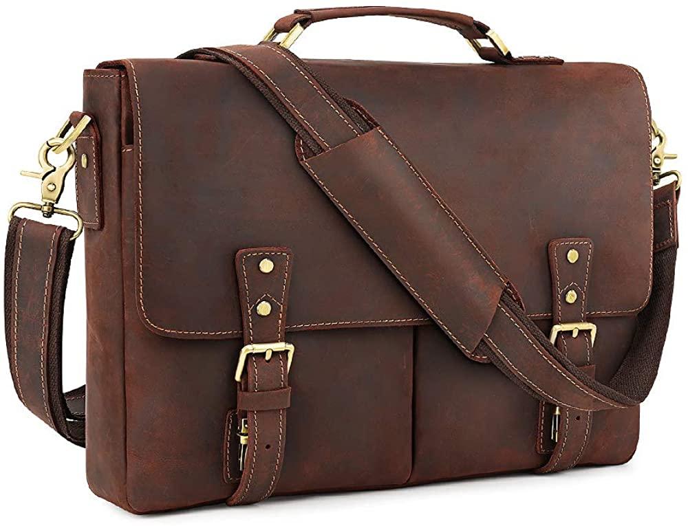 Kattee Vintage Leather Briefcase 15.7 Inch Laptop Messenger Bag Tote