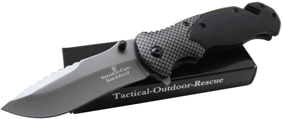 Snake Eye Tactical Wood Handle Spring Assist Knife Everyday Carry Engrave Collectors Pocket Eco'Gift Limited Edition Knife with Sharp Blade