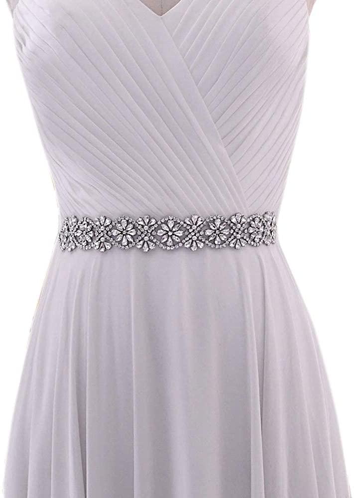 HONGMEI Rhinestone Wedding Belt,Wedding Sash for Brides and Bridesmaid,Bridal Gown Accessory with Ribbons
