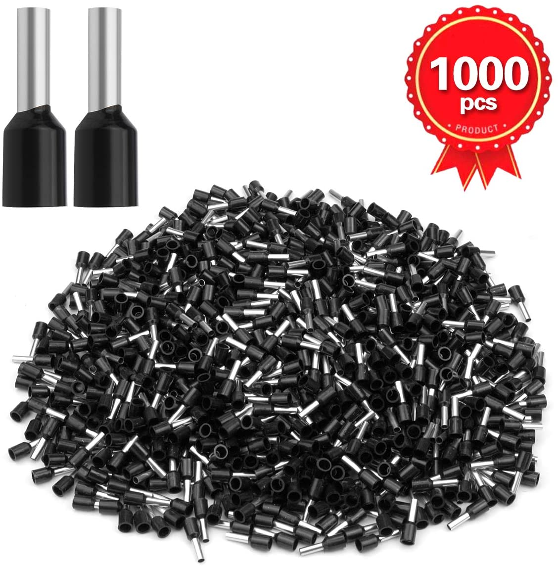 XHF 1000 PCS AWG 16 Ferrule Crimper Plier Insulated Crimp Pin Terminal Cord End Terminals, Wire Ferrules Terminals, Wire Connector, Insulated Cord Pin End Terminal 1.5mm² Black