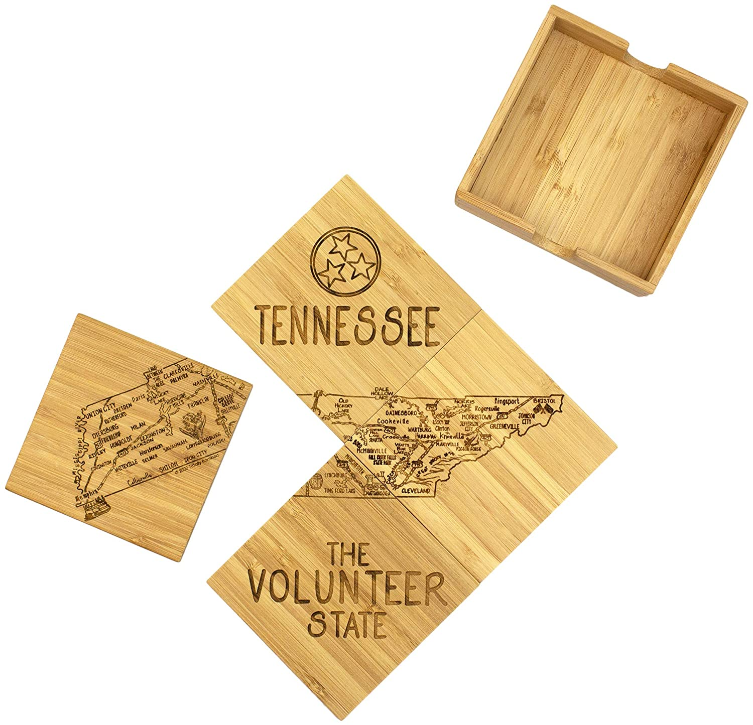 Totally Bamboo Tennessee State Puzzle 4 Piece Bamboo Coaster Set with Case