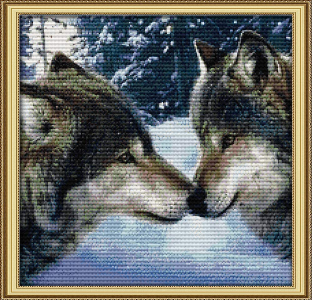 Joy Sunday The Kiss of Wolves Counted Cross Stitch Kits,Cross-Stitch Wolf Embroidery Kit 14 Count 17''x17''