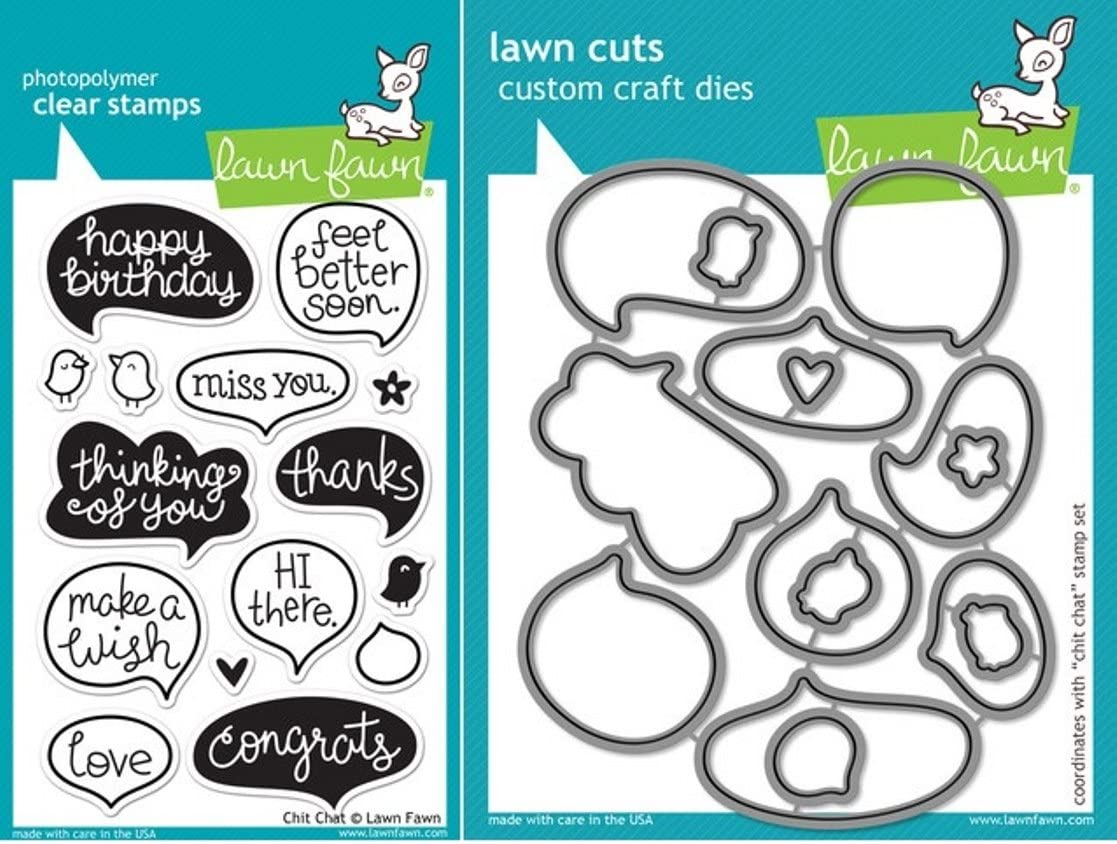 Lawn Fawn Chit Chat Clear Stamp and Die Set - Includes One Each of LF669 (Stamp) & LF670 (Die) - Custom Set