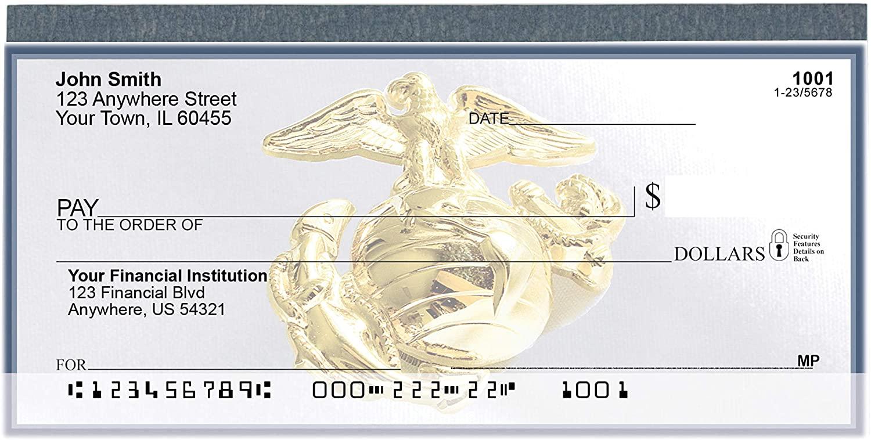 Carousel Checks Inc Marine Corps Emblem Top Tear Value Priced Personal Checks, 4 Boxes of Singles, 500 Checks