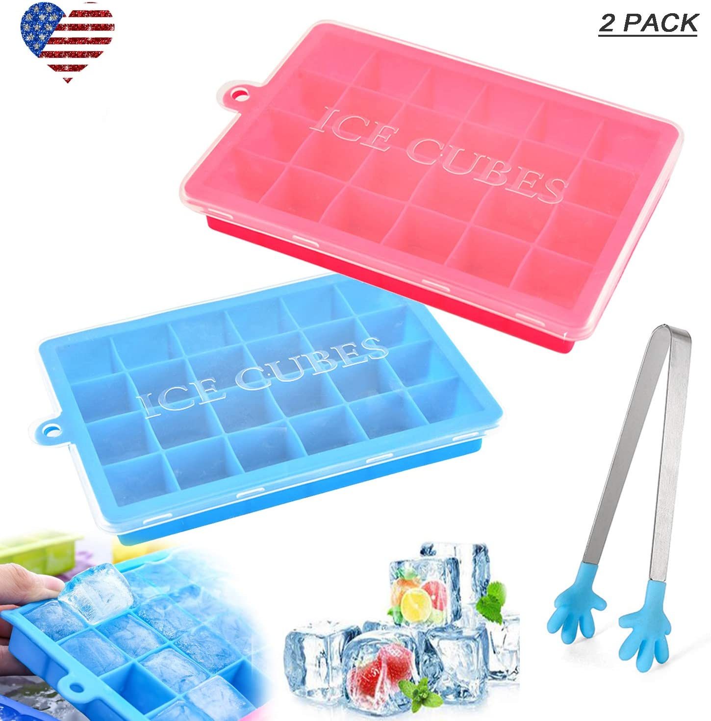 Ice Cube Trays Silicone with Lid Easy Release 24 Cubes Mold Value 2 Pack, Flexible Ice Cubes Molds Tray with Tongs for Cocktail Baby Food Chocolate Whiskey Candy (2 Pack 24 Cubes Tray in Blue&Pink)