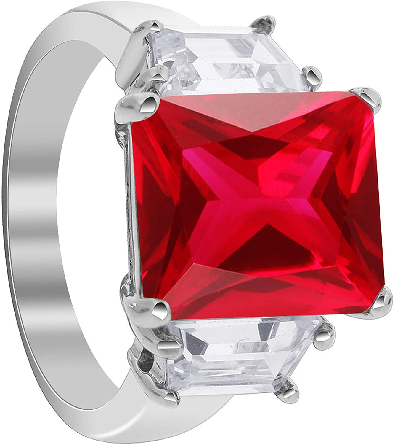 Gem Avenue Emerald Cut CZ Ruby Cubic Zirconia Three Stone Engagement Sterling Silver Ring