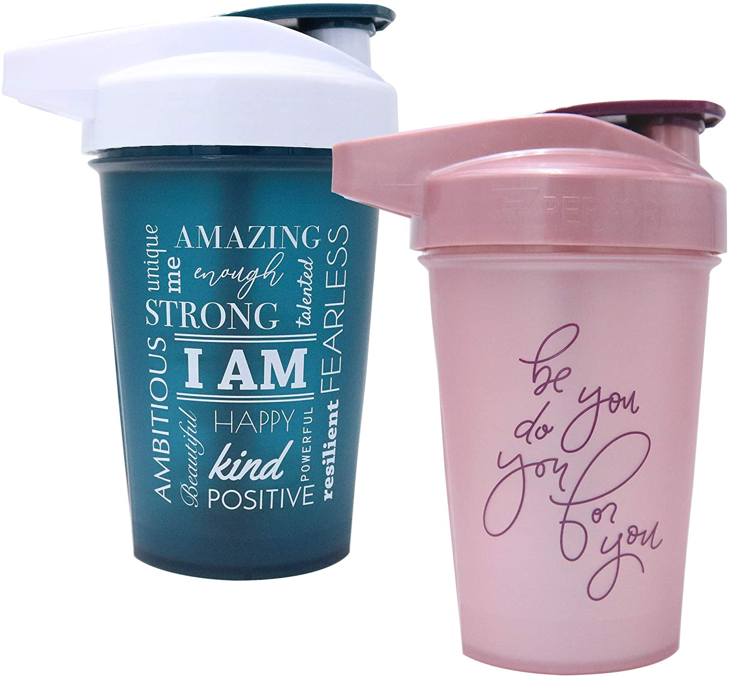 Motivational Quotes on Performa Activ Shaker Bottle, 20 Ounce Classic Protein Shaker Bottle with Loop, Leak Proof, Perfect Gym Fitness Gift (Two Pack - Be You Rose & I Am Teal)