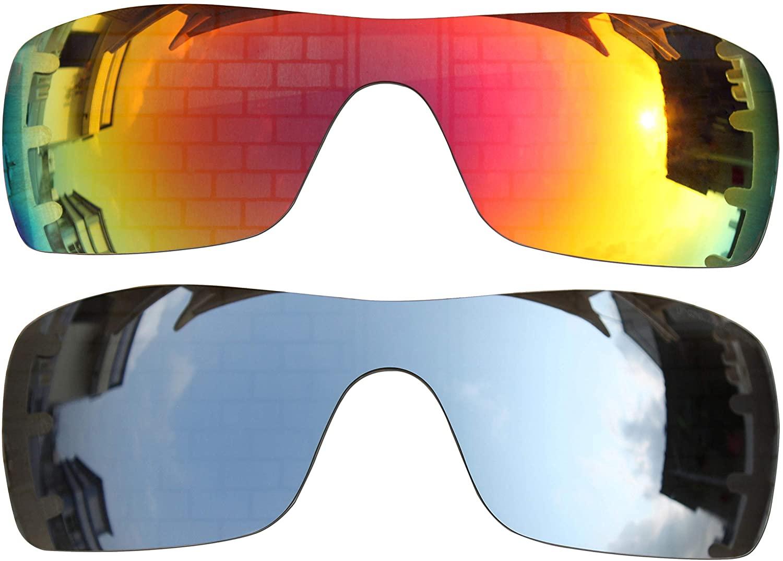 2 Pairs Polarized Lenses Replacement Fire red mirror & Black iridium mirror for Oakley Batwolf Sunglasses