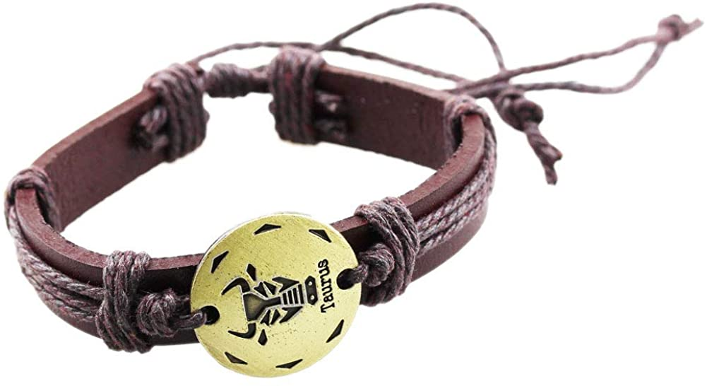 FOY-MALL Unisex The Signs of The Zodiac Adjustable Leather Bracelet