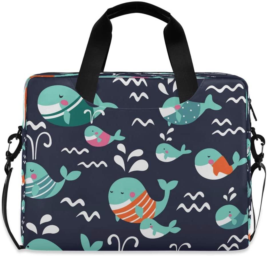 YKMUSTwin Ocean Sea Cute Whale 13-15.6 Inch Laptop Shoulder Messenger Bag Laptop Case Sleeve with Strap Computer Briefcase for Women Men Boy Girls