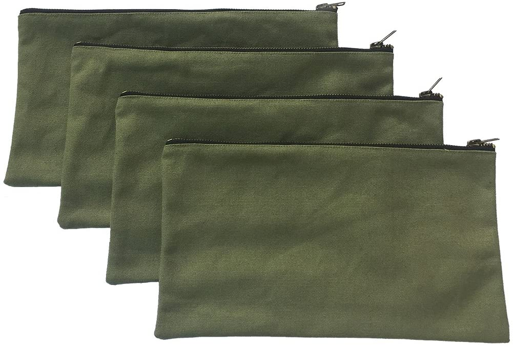 Heavy Duty 16 oz. Canvas Tool Bags with Metal Zippers Multi Purpose Waterproof Smart Storage Pouches Everyday Utility Tool Bags Organizer Best for Handymen Repairmen Woodworker (Green)