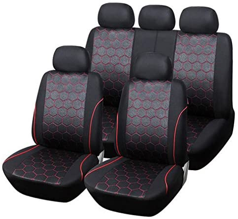 TIROL Universal Full Car Seat Cover Set 9Pcs Zipper Seat Protective air Bag Compatible Interior Accessories for Crossovers SUV Sedans