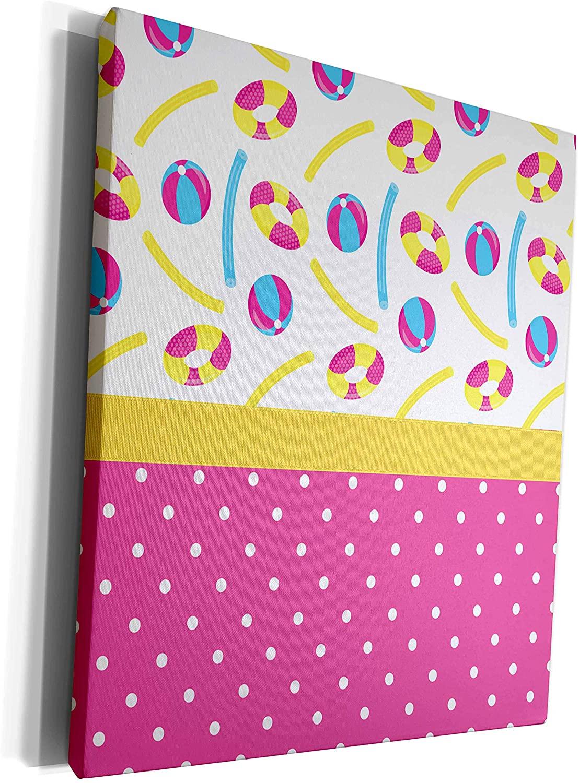 3dRose Anne Marie Baugh - Designs - Cute Summer Pool Toys Over Polka Dots - Museum Grade Canvas Wrap (cw_282867_1)