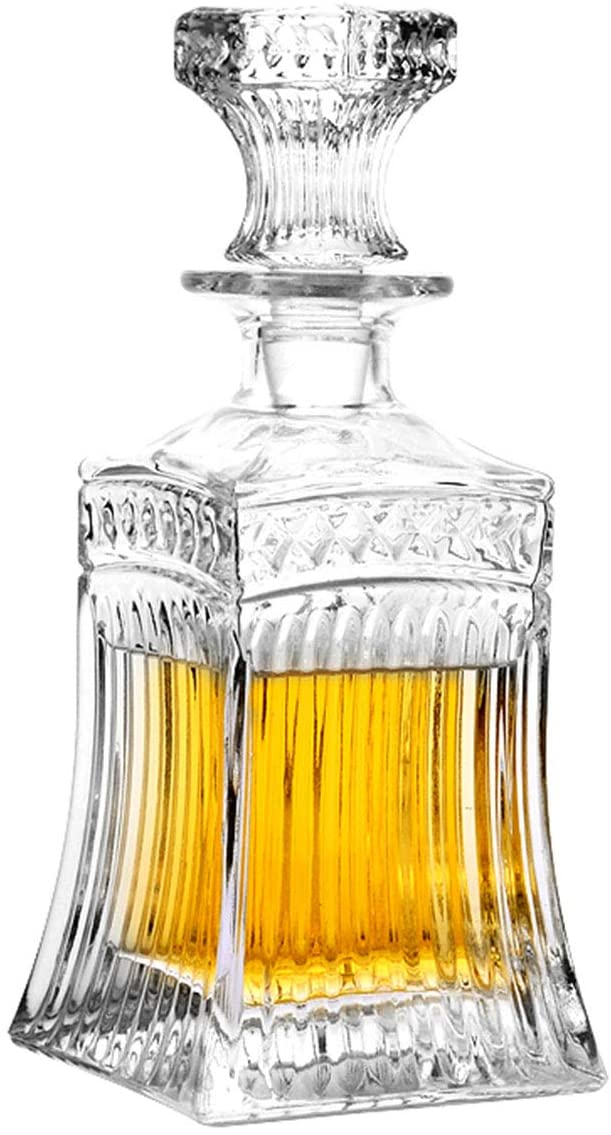 Glass Decanter with Airtight Geometric Stopper - Whiskey Decanter for Wine, Bourbon, Brandy, Liquor, Juice, Water, Mouthwash. Italian Lead-Free Glass (16.9 oz/500ml)
