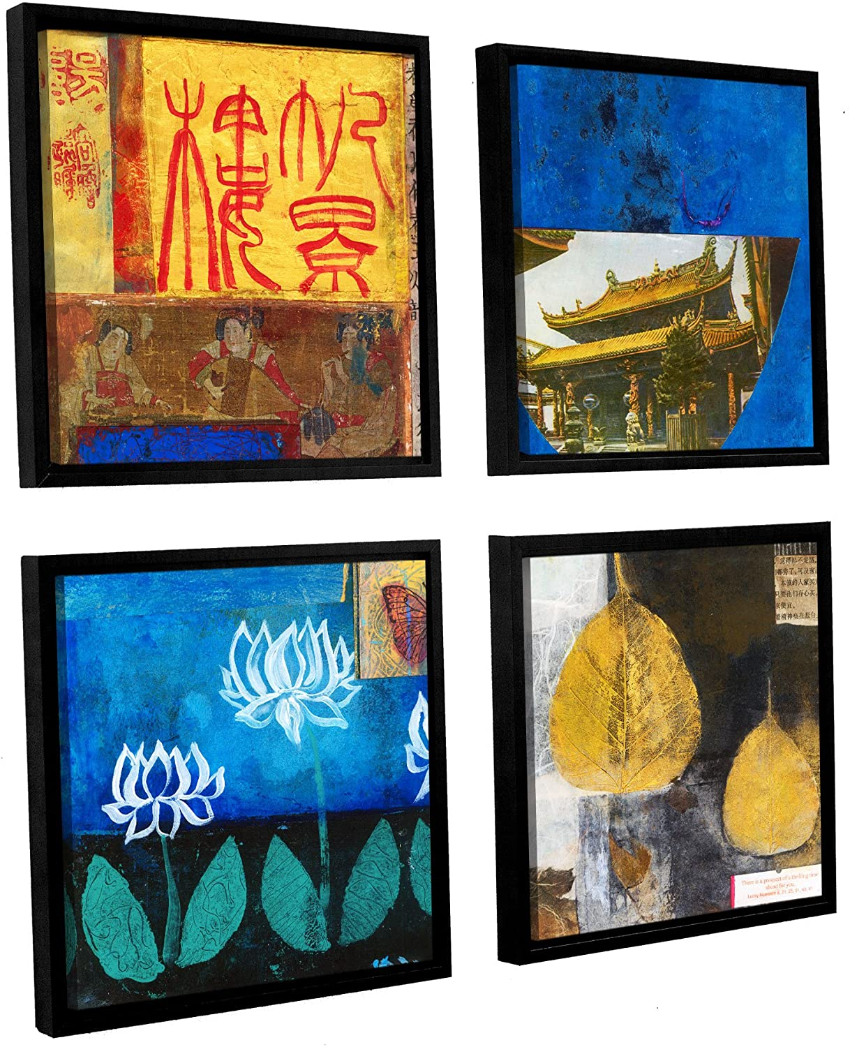 ArtWall 4 Piece Elana Ray's Good Fortune Square Set Floater Framed Canvas, 36 x 36