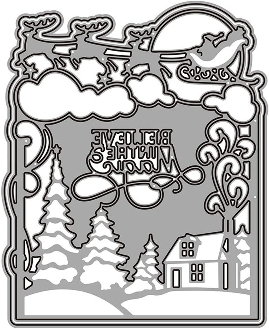Christmas Snow Scene Metal Cutting Dies Decorative Embossing Stencil Templates for DIY Scrapbooking Album Paper Cards Crafts Christmas Gift