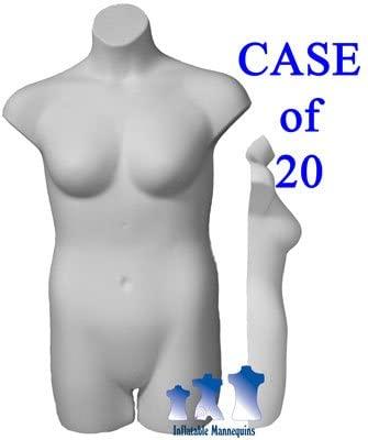 Female Plus Size 3/4 Form - Hard Plastic, Black, White, or Fleshtone, Case of 20