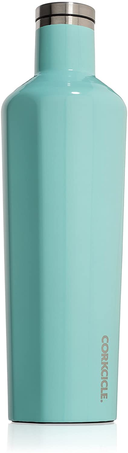 Corkcicle 25oz Canteen Classic Collection - Water Bottle & Thermos - Triple Insulated Shatterproof Stainless Steel, Gloss Turquoise