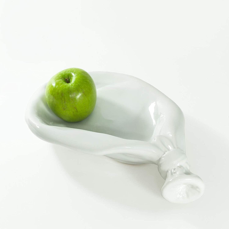 Made By Humans Deflated Balloon Ceramic Decorative Bowl Hostess Housewarming Gift Stylish Interior Accessory White