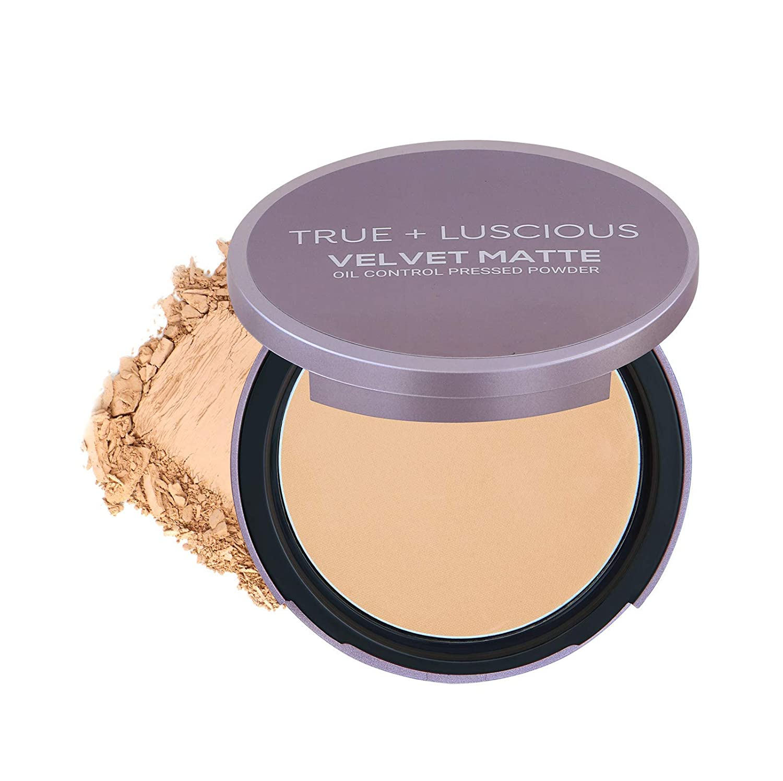 True + Luscious Velvet Matte Oil-Control Face Powder Compact - Vegan, Cruelty Free, Paraben Free. Multi-use Powder Foundation - 0.35 oz (Shade 3: Medium w/Golden Undertones)