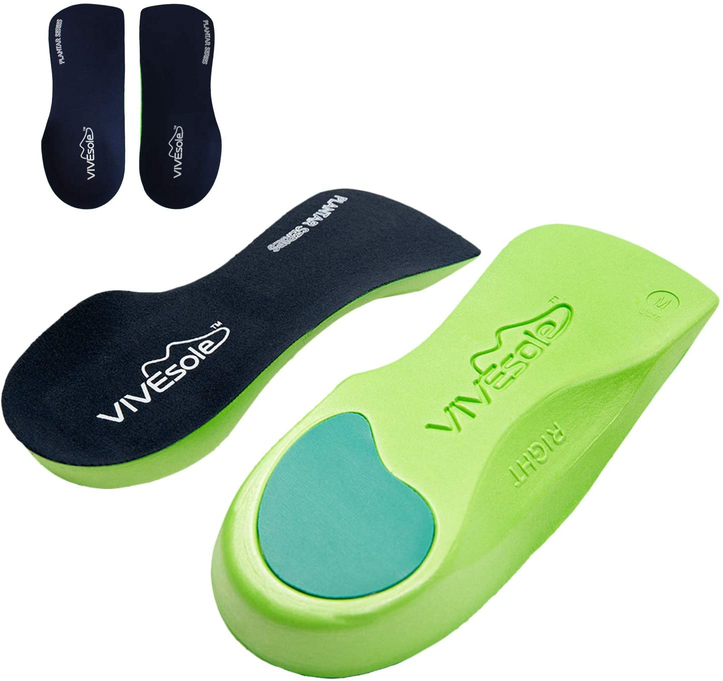 Vivesole Orthotic Heel Insoles - Half Shoe Inserts for Plantar Fasciitis, Foot Arch, Feet Fatigue, Lower Back Pain Relief - Non Odor Foam Cup Support for Men, Woman - for Walking, Running, Exercises