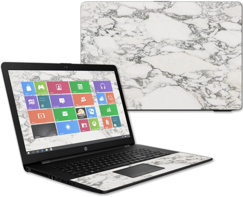 MightySkins Skin Compatible with HP 17t Laptop 17.3 (2017) - White Marble   Protective, Durable, and Unique Vinyl Decal wrap Cover   Easy to Apply, Remove, and Change Styles   Made in The USA