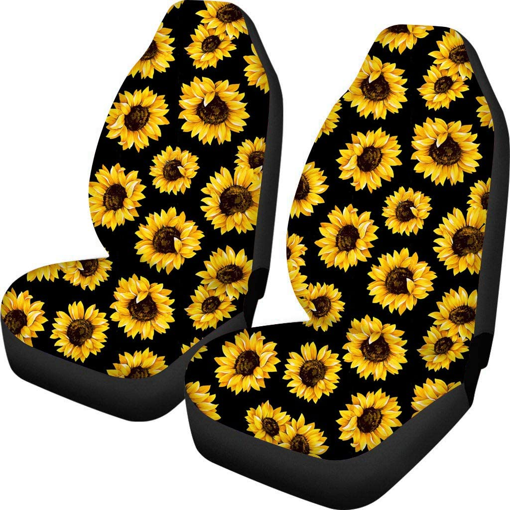 Showudesigns Car Seat Covers Sunflower Full Set for Women Fashion Flower Front Seat Covers Protector Universal Fit SUV Sedan Automobile Truck