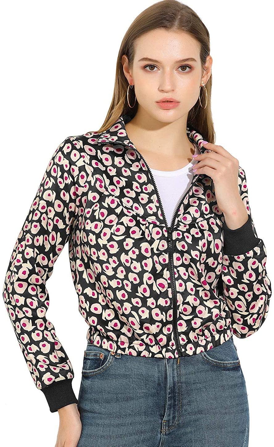 Allegra K Women's Floral Turn Down Collar Zip Up Elastic Hem Crop Bomber Jacket