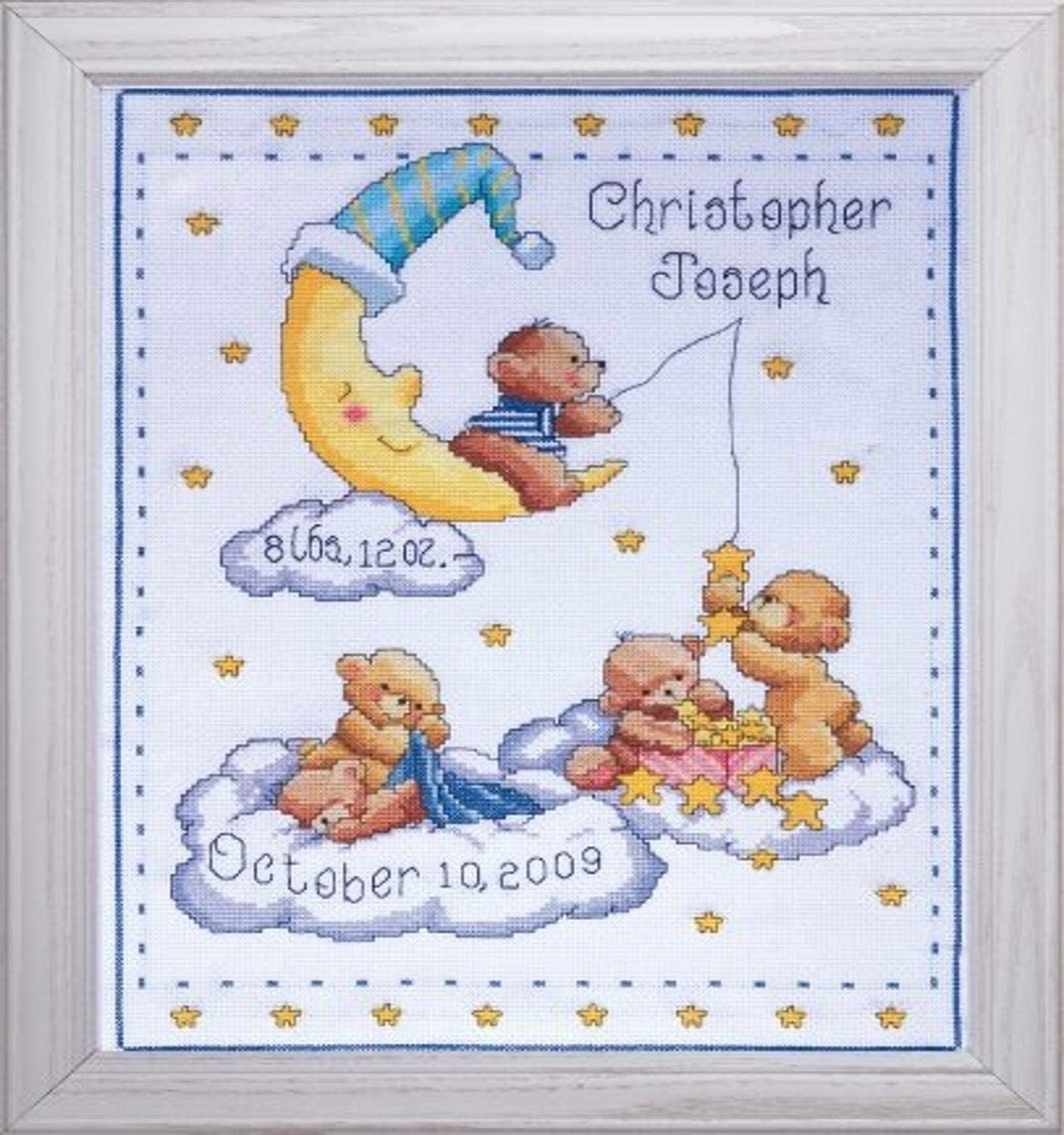 Tobin Heavenly Bears Sampler, 8 x 10 Cross Stitch Kit, 11