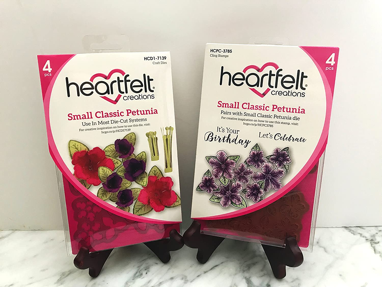 Lot Set Heartfelt Creations Dies+Stamp Set Small Classic Petunia, HCD1-7139+HCPC3785