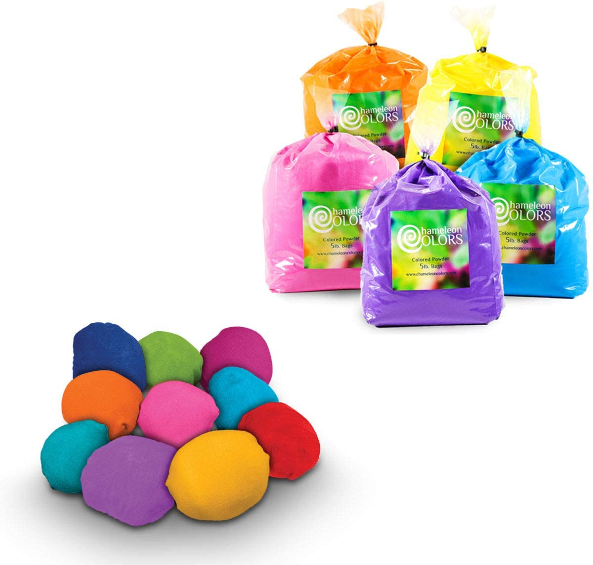 Color Powder 5 Pound 5 Pack with 10 Refillable Color Balls by Chameleon Colors, Holi Color Powder for Parties, Color War Powder with 5 Vibrant Colors