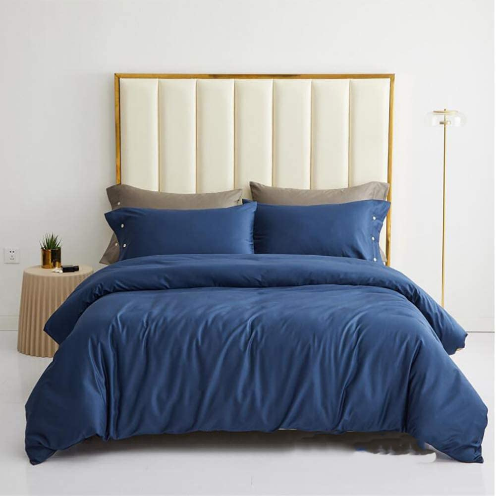 Egyptian Long Staple Cotton Quilt Cover,Solid Color Sateen Reversible Soft and Silky Comforter Cover with Button Closure Corner Ties-Blue 200x230cm(79x91inch)