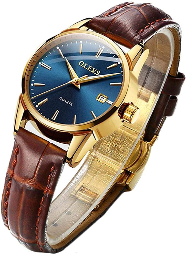 OLEVS Watch Women Wristwatch Ladies Female Brown Leather Business Dress Waterproof Fashion Casual Simple Quartz Analog Classic Date Calendar Small Dial Wrist Watch
