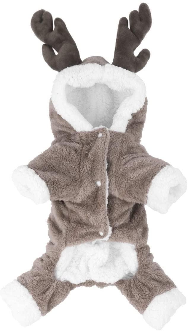 iEFiEL Christmas Elk Costume Fleece Hoodies Coat Jumpsuit for Pet Dogs and Cats