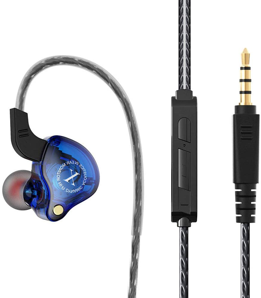 Strong bass Earphone Earphones,Customized Drive Units with Pure Sound and Powerful Bass, Earbuds with High Sensitivity Microphone and Volume Control, Headphones for iPhone, iPad, Samsung,etc (Blue)