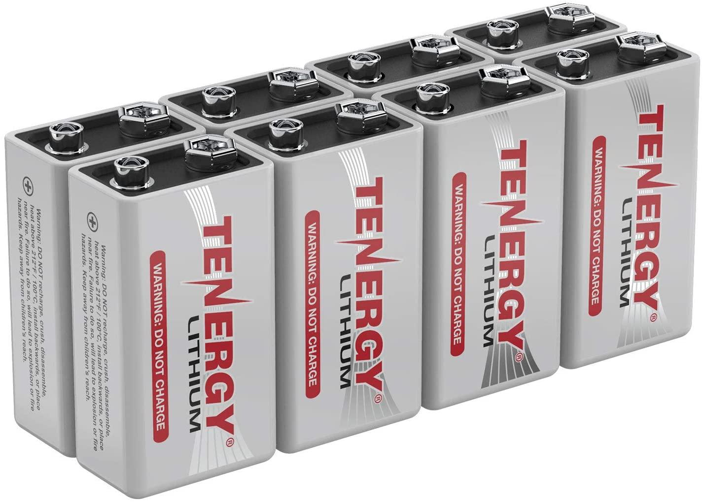 Tenergy 9V Lithium Batteries, 1200mah Non-Rechargeable Batteries,10 Years Shelf Life Lithium 9 Volt Batteries - 8 Pack