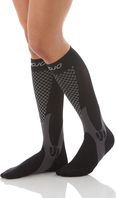 Mojo Compression Socks Unisex Graduate Knee Length | Silver Design | Black 3XL