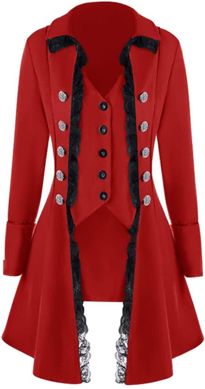 Womens lace Steampunk Thin Jacket Casual Jackets Retro Victorian Punk Women Medieval Jacket Coat, Thin-red, XX-Large