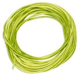 Satin Bugtail Cord Lime Green 1mm. Section of 5 meters / 5.4 Yards.