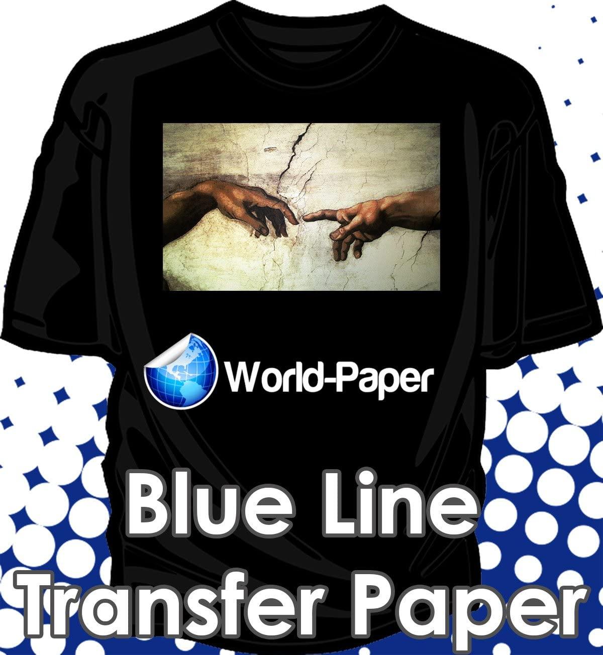 Inkjet Dark Fabric Transfer Paper 11x17 For Inkjet Printer Iron On Blue Line For Dark Fabric 50 Sheets