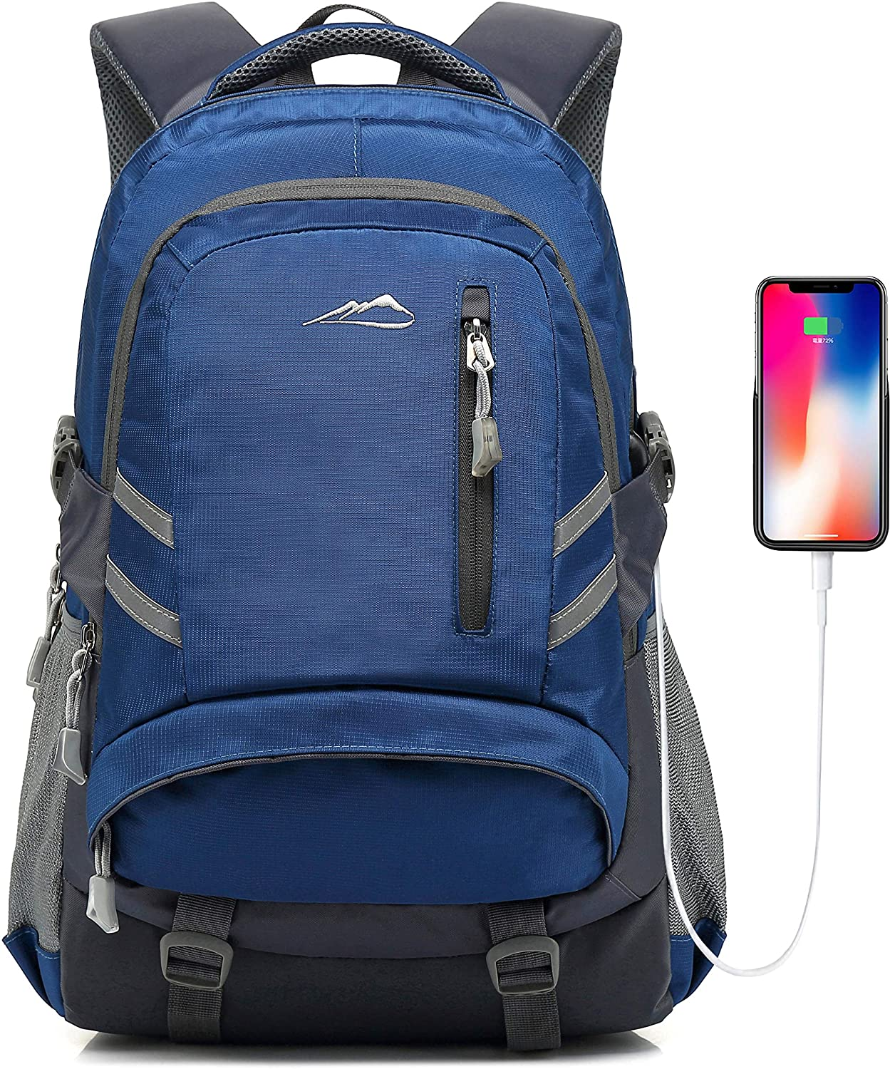 Backpack for School College Student Bookbag Business Laptop Travel with USB Charging Port Chest Luggage Straps Night Light Reflective (Blue)