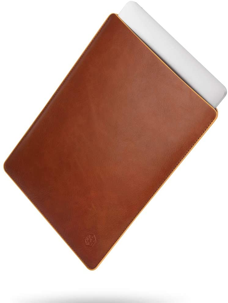 CAISON Genuine Leather Laptop Sleeve Case Special Design for 12 inch MacBook