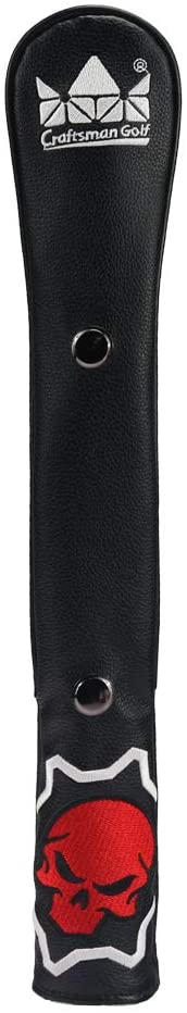 Craftsman Golf Black Leather Skull Golf Alignment Stick Cover Case Holder with Snap Function