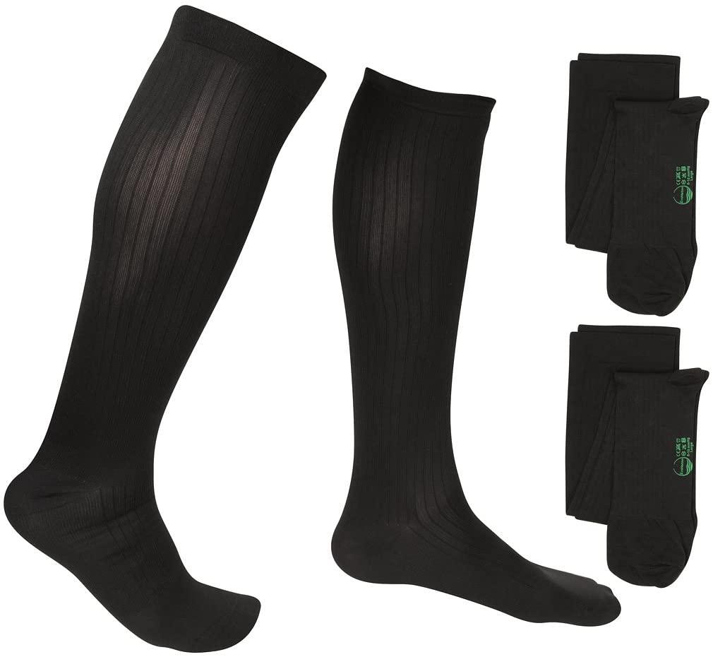2 Pair EvoNation Men's Travel USA Made Graduated Compression Socks 8-15 mmHg Mild Pressure Medical Quality Knee High Orthopedic Support Stockings Hose - Best Comfort Fit, Circulation (XL, Black)