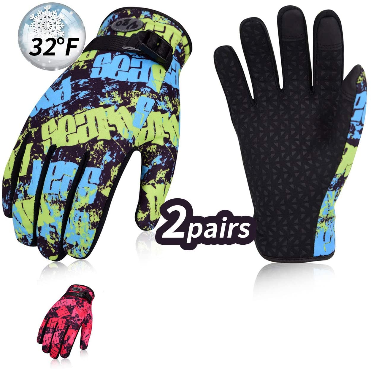 Vgo... 2Pairs Juniors 32℉ or Above 3M Thinsulate C40 Lined Winter Outdoor Gloves Designed for Running, Cycling, Driving & Texting(2Colors,SL221FW)
