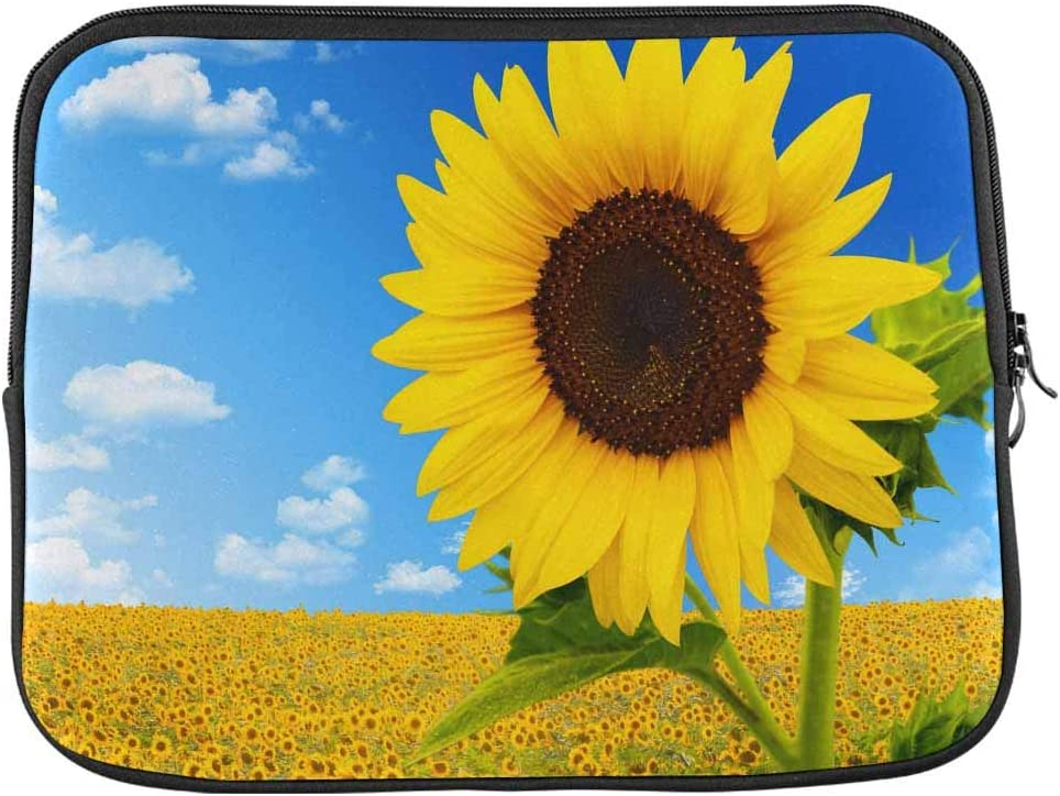 INTERESTPRINT Laptop Sleeve Case Sunflower Field Over Cloudy Blue Sky Neoprene Protective Bag 17 Inch 17.3 Inch