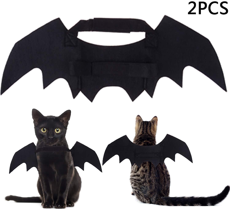 LOCOLO 2 Pack Christmas Pet Bat Wings, Pet Cat Dog Bat Costumes Black, Christmas Pets Costume for Cats Dogs
