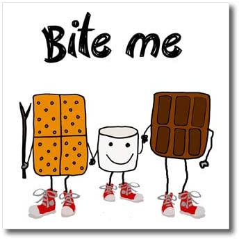 3dRose All Smiles Art - Sports and Hobbies - Funny Cute Bite me Smores Camping and Hiking Cartoon - 8x8 Iron on Heat Transfer for White Material (ht_320677_1)
